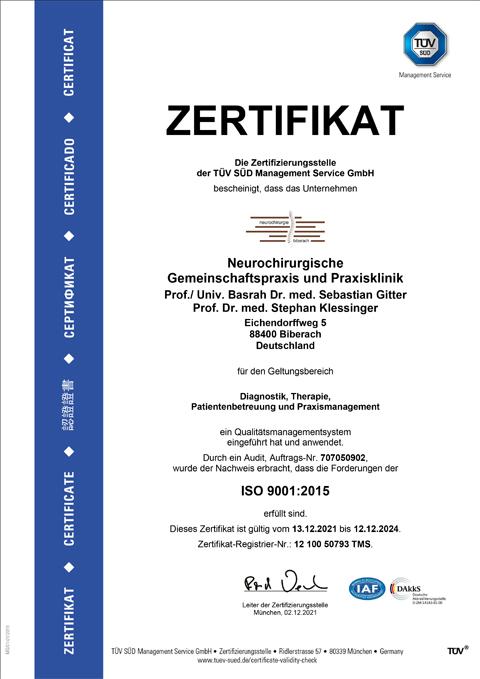 Neurochirurgie Biberach - Dr. Gitter, Dr. Klessinger - Zertifizierung